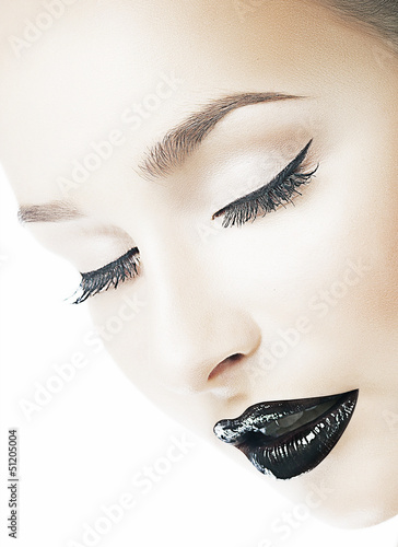 Dreaminess. Femininity. Woman's Face. Closed Eyes. Black Lips