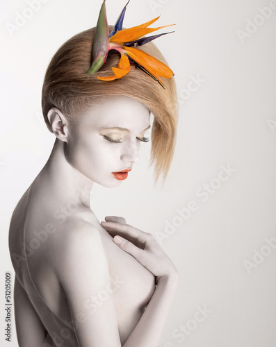 Bodypainting. Dreamy Woman with Flower. Futurism. Silver Skin