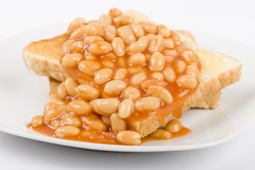 Beans on Toast - Toasted bread slices topped with baked beans.
