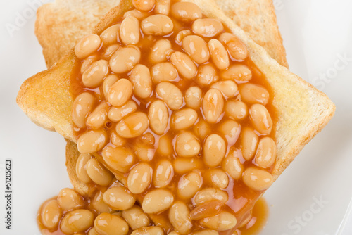Poster Beans on Toast - Toasted bread slices topped with baked beans.