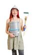 Frau mit Farben und Pinseln bei Renovierung