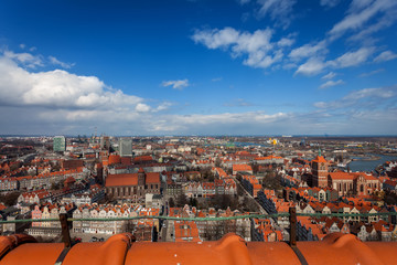 Aerial view of old town in Gdansk.
