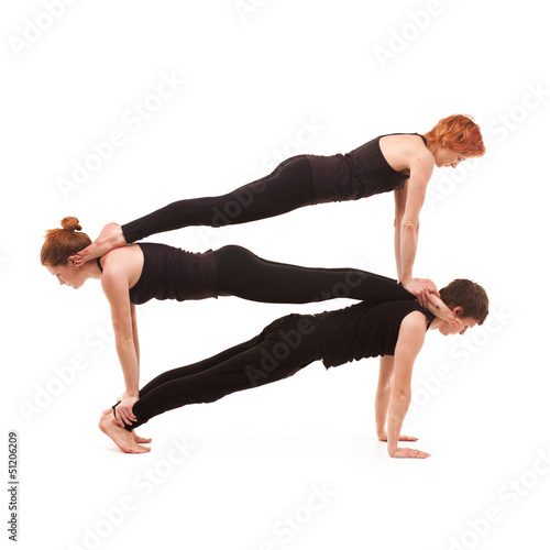 Group yoga on a white background