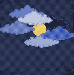 Paper moon and clouds