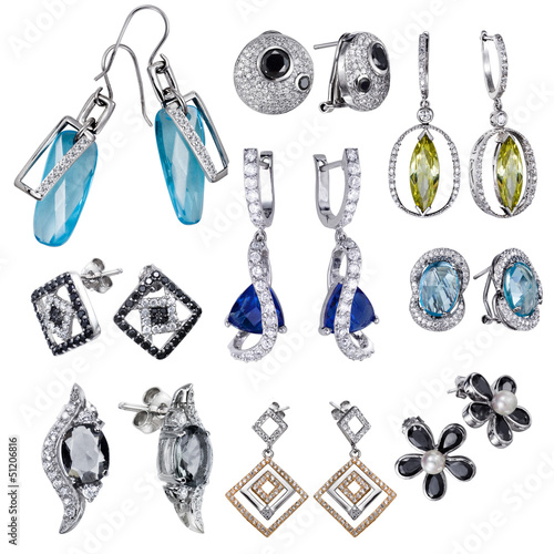 Earrings with zircon and expensive big gemstones