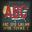 American themed alphabet. With elements for Independence Day, ve