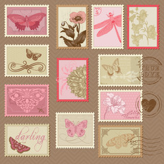Retro Postage Stamps - with butterflies and flowers - for weddin