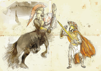 Greek myth and legends (Drawing into vector) - Theseus, Centaur