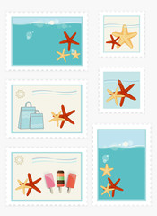 Summer themed postage stamps