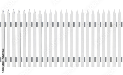White picked fence isolated on white
