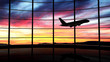 Airport window with airplane flying at sunset - 51208682