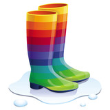 Vector rubbers boots in rainbow colors