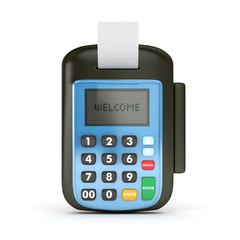 3d blue pos terminal isolated