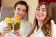 Wellness - Couple with Chlorophyll-Shake in Spa