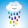 Vector cartoon cloud and rainbow drops