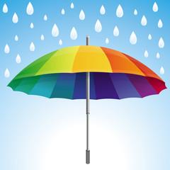 Vector umbrella and rain drops in rainbow colors
