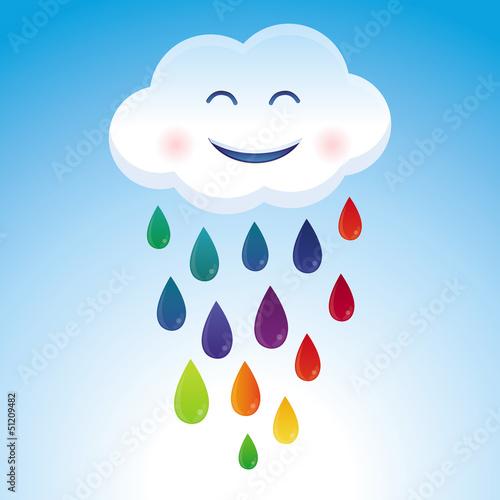 Vector cartoon cloud and rainbow drops