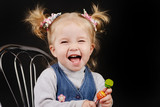 toddler girl with ponytail hairstyle poster