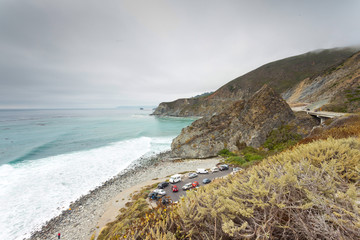 Coast of Big Sur with cloudy sky. USA. California.
