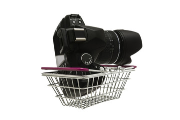 Camera in a shopping basket