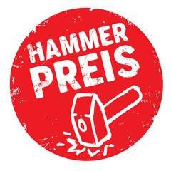 Runder Button Hammerpreis zerkratzt