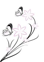 farfalla e fiori tattoo