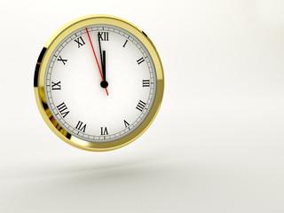 orologio 3D che segna la mezzanotte mezzogiorno