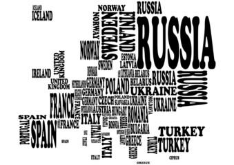 Fototapeta Mapa Europy jako tekst