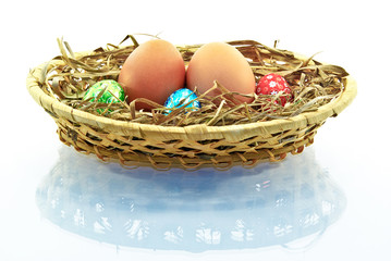 Eggs , basket isolated on a white background.