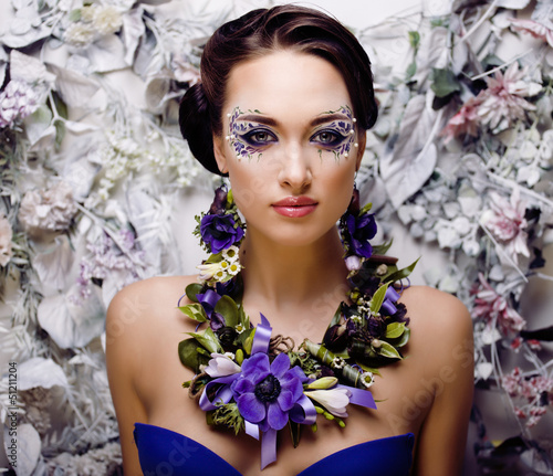floral face art with anemone in jewelry