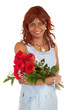 Happy African American Woman  Posing with her Roses