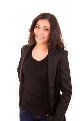 Portrait of a happy young business woman against white backgroun