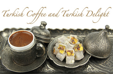 Turkish coffee and turkish delight with sample text.