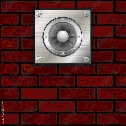 Brick wall and speaker