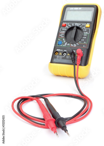 The multimeter probes to measure. Close-up.
