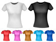 Black and white and color woman polo t-shirts. Design template.