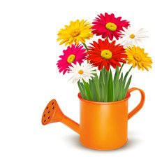 Colorful fresh spring flowers in orange watering can. Vector ill
