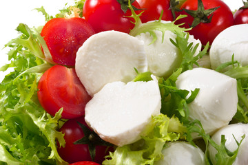 fresh lettuces salad with fresh  tomatoes and mozzarella