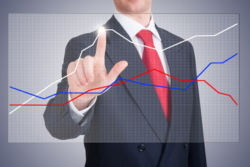 Businessman pointing a graph wich shows the business progress