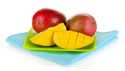 Ripe appetizing mango on green plate isolated on white