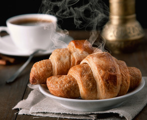 morning croissants with coffee