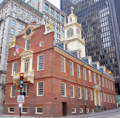 The Tower of Old State House in Boston, Massachusetts, USA