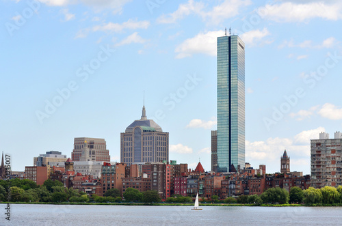 Boston Modern Skyline from Cambridge, Massachusetts, USA