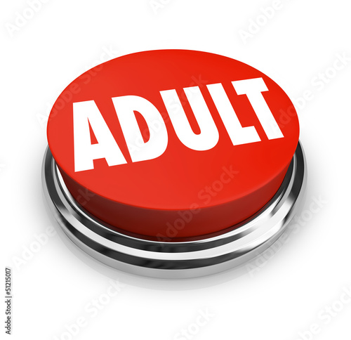 Adult Word Red Button Mature Restricted Content