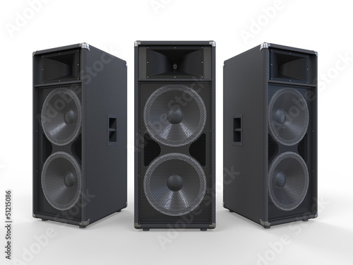 Large Audio Speakers Isolated on White Background