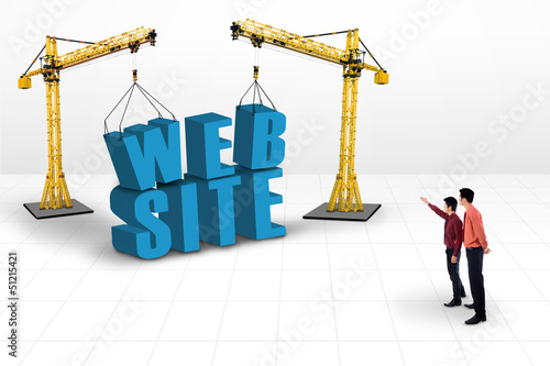 Business manager pointing website development