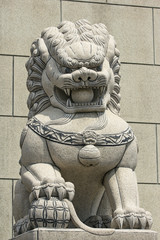 Statue of lion tread on the earth