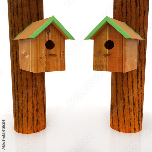 Two nest box birdhouses
