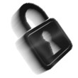 Black pixel icon-like image of padlock