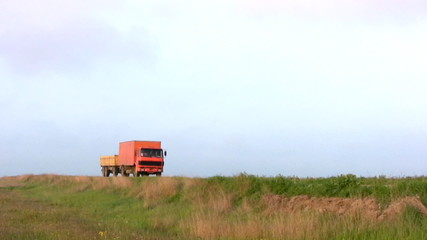 Orange truck leaves
